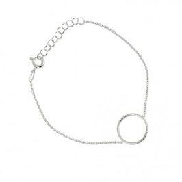 Bracelet argent massif anneau martelé