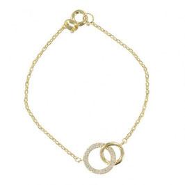 Bracelet plaqué or anneau entrelacé zirconium