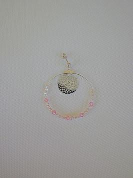 Boucles d'oreilles en métal argenté support en argent avec des perles à facette rose, estampe au centre