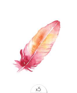 Délicate plume rose à l'aquarelle