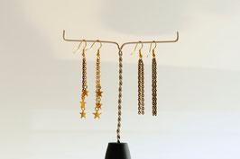 Boucles d'oreilles chaine en métal couleur bronze et/ou doré
