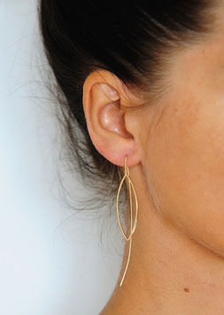 Boucle d'oreille tige  traversante motif ovale