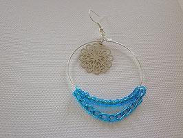 Boucles d'oreilles argenté chaine turquoise estampe fleur