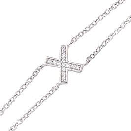 """Bracelet en argent massif motif """"X"""""""