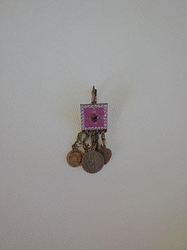 Boucles d'oreilles bronze émail violet