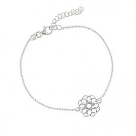 """Bracelet argent massif rhodié fleur """"Axelle"""" Eliot"""