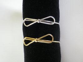 Bracelet jonc noeud en métal doré ou argenté
