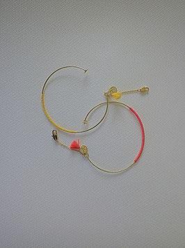 Bracelet jonc doré fil de couleur
