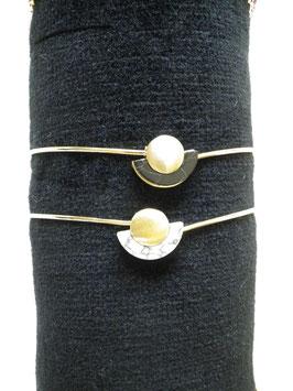 Bracelet jonc doré demi-lune pierre noire ou blanche