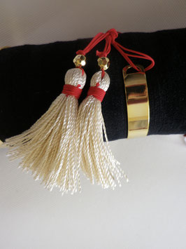 Bracelet jonc doré  grand pompon