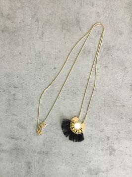 Sautoir chaine dorée pendentif pierre blanche et jaune fils noir