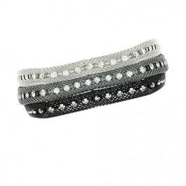 Bracelet fantaisie trois mailles et cristaux