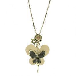 Collier fantaisie papillon bronze