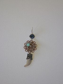 Boucles d'oreilles dormeuse argenté pierre bleue