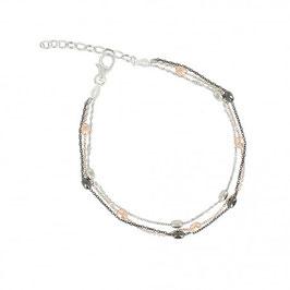 Bracelet en argent, trois couleurs argent massif, plaqué or rosé et ruthénium noir