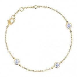Bracelet plaqué or  3 zirconium
