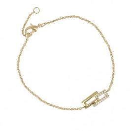 Bracelet plaqué or aux formes cubiques et pierres en oxyde de zirconium