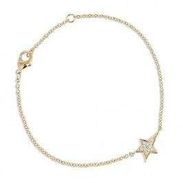 Bracelet plaqué or et étoile filante empierrée d'oxyde de zirconium