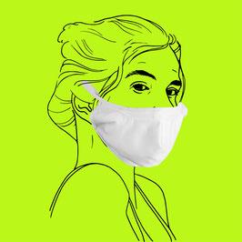 Geformte Maske aus Baumwolle mit Gummiband und Clipverschluss, Filtereinlageoption