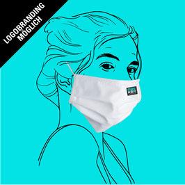 Maske aus Baumwolle mit Gummiband an Ohren, Filtereinlageoption und individuellem Logo