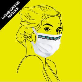 Maske (Frauengröße) aus Baumwolle, mit Gummiband & Filtereinlageoption & individuellem Logo