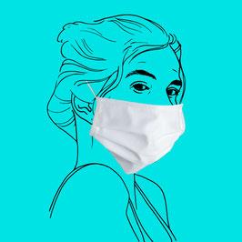 Maske aus Baumwolle mit Gummiband an Ohren und Filtereinlageoption