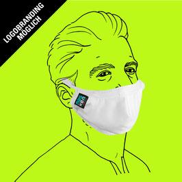 Geformte Maske aus Baumwolle mit Gummiband, Clipverschluss, Filtereinlageoption und Logo