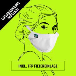 Kombi: Geformte Maske aus Baumwolle mit Gummiband, Clip, Filter und individuellem Logo oder Design