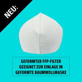 Geformte Filtereinlage für geformte Masken aus Baumwolle