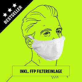Kombi: Geformte Maske aus Baumwolle mit Gummiband, Clip und Filter