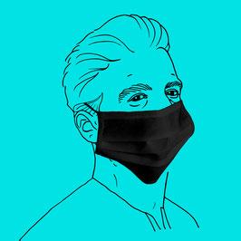 Maske aus PP-Spinnvlies mit Nasenbügel und Gummiband, schwarz