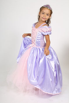 Robe princesse Raiponce mauve et rose.
