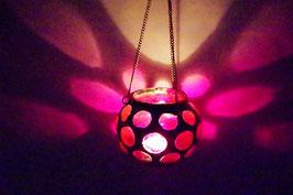 Mundgeblasene Hänge  Windlicht Mittelalter Rot
