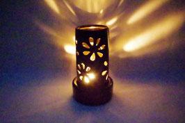 Windlicht  Keramik Zylinder Schwarz Blumen