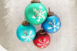 Weihnachtskugel Schnee 19 st. Div. Farbe