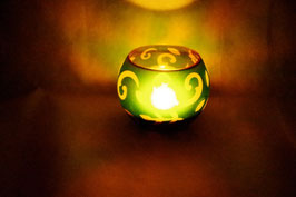 Windlicht Glas Ornament grün