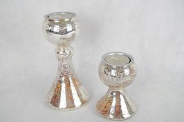 Windlicht Paar Glas Silber Effekt ( 2 er Set)