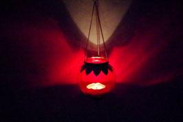 Mundgeblasene Hänge  Windlicht Mittelalter Rot XL