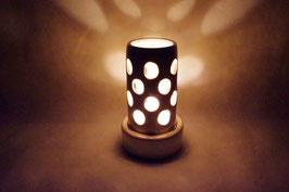 Windlicht  Keramik Zylinder Creme Kreise