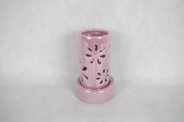 Windlicht  Keramik Zylinder Rosa Blumen