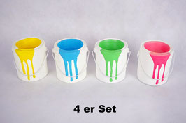 Windlicht Keramik Farbeimer Bunt 4 er Set