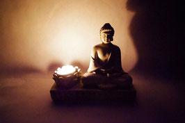 Windlicht Keramik Buddha aus Keramik sand Farbe