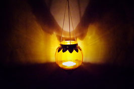 Mundgeblasene Hänge  Windlicht Mittelalter Gelb XL