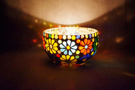 Mosaik Windlicht  Blumen