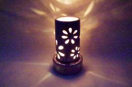 Windlicht  Keramik Zylinder Lila Blumen