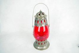 Windlicht Laterne aus Glas Metallgefäß Rot