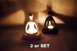 Windlicht Keramik Yogis 2 er Set