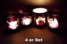 Windlicht Glas Halloween 4 er Set