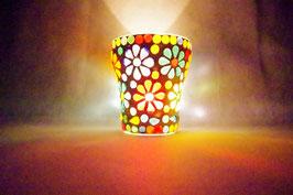 Mosaik Windlicht Blumen Bunt