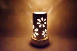 Windlicht  Keramik Zylinder Creme Blumen